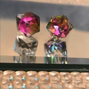 Cube cool rainbow iridescent earrings